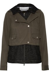 Thakoon Layered Cotton Gabardine And Textured Knit Hooded Jacket Green