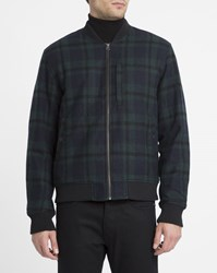 Edwin Black And Green Tartan Baller Rib Neck Wool Blend Bomber Jacket