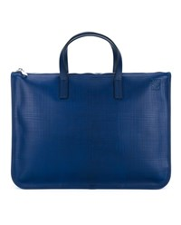 Loewe Leather Briefcase Navy Blue Neutral