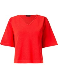 Gig V Neck Knit Blouse Red