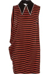 Mcq By Alexander Mcqueen Crystal Embellished Striped Twill Mini Dress Red