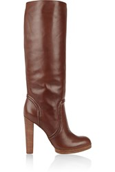Kors Aila Leather Knee Boots Brown