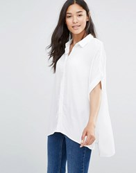 Soaked In Luxury Boxy Shirt Textured Fabric Lily White