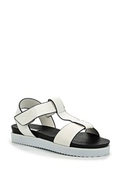 Lost Ink Neylen Sporty Velcro Flat Sandals White