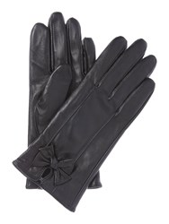 Isotoner Leather Glove With Bow Black