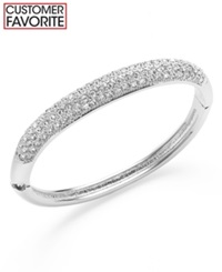 Charter Club Silver Tone Clear Glass Pave Bangle