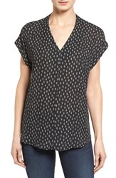 Pleione Petite Women's High Low V Neck Mixed Media Top Black Ivory Scribbled Diamond