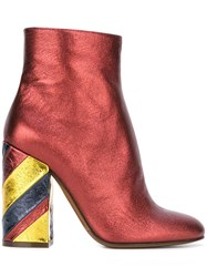 L'autre Chose Metallic Striped Heel Ankle Boots Red