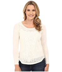 Lucky Brand Embroidered Mesh Tee Nigori Women's Blouse White