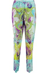 Emilio Pucci Printed Silk Georgette Tapered Pants Light Blue