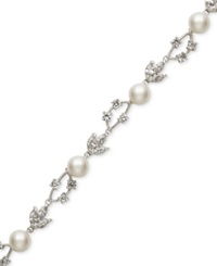 Belle De Mer Bridal Cultured Freshwater Pearl 8Mm And Crystal Bracelet In Silver Plated Brass