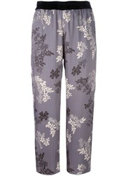 Forte Forte Floral Print Striped Trousers Grey