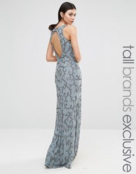 Maya Tall All Over Sequin Patterned Maxi With Backless Detail Grey