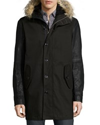 John Varvatos Button Down Parka With Faux Fur Lined Hood Black