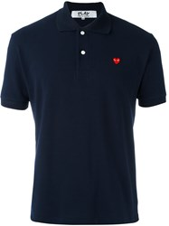 Comme Des Garcons Play Short Sleeve Polo Shirt Blue