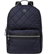 Moncler Gigi Zaino Leather Trimmed Quilted Nylon Backpack Navy