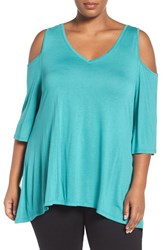 Sejour Plus Size Women's Cold Shoulder Top Teal Peacock