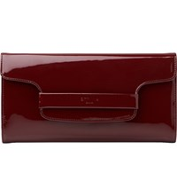 Lk Bennett Laura Patent Leather Clutch Bag Red Truffle