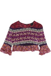 Anna Sui Cropped Ruffled Printed Silk And Cotton Blend Top Pink Purple