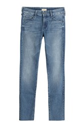 Mother Distressed Skinny Jeans Blue