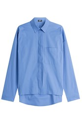 Jil Sander Navy Stretch Cotton Shirt Blue