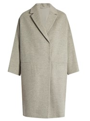 Brunello Cucinelli Double Breasted Wool And Cashmere Blend Coat Light Grey