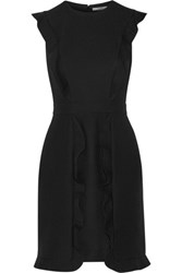Fendi Ruffled Wool And Silk Blend Mini Dress Black