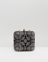Park Lane Embroidered Box Clutch Bag Black Pewter