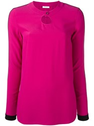 Akris Punto Round Neck Longsleeved Blouse Pink Purple