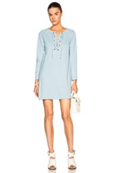 Raquel Allegra Lace Front Dress In Blue
