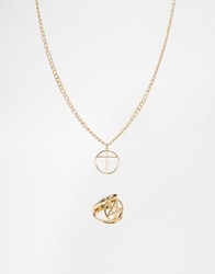 Asos Necklace And Ring Pack With Star Gold