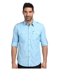 Dkny Long Sleeve Roll Tab End On End Shirt Casual Wash Turquoise Stone Men's Long Sleeve Button Up Blue