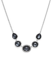 Ippolita Sterling Silver Lollipop Necklace In Hematite Doublet With Diamonds 16 White Black