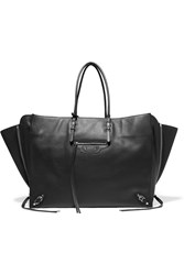 Balenciaga Papier A4 Zip Around Textured Leather Tote Black