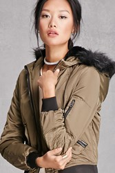 Forever 21 Members Only Bomber Jacket Olive