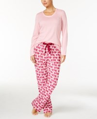 Nautica Scoop Neck Knit Top And Printed Pajama Pants Gift Set Pink Ornaments