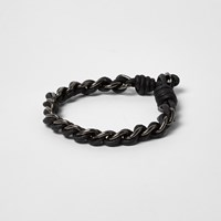 River Island Mens Black Metallic Chain Cord Bracelet