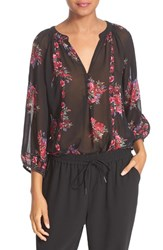 Joie Women's 'Gloria' Floral Print Silk Peasant Top