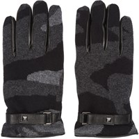 Valentino Grey Cashmere Camo Gloves