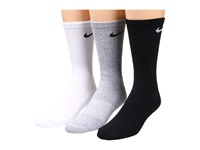 Nike Cotton Cushion Crew With Moisture Management 3 Pair Pack Grey Heather Black White Black Black White Men's Crew Cut Socks Shoes Multi