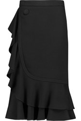 J.W.Anderson Ruffled Twill Midi Skirt Black