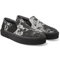 Lanvin Rubber Trimmed Printed Canvas Slip On Sneakers Black