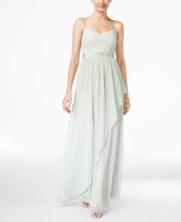 Adrianna Papell Spaghetti Strap Lace Gown Mint