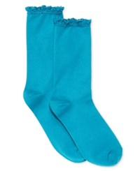 Hue Women's Lace Trim Socks Blue Jewel