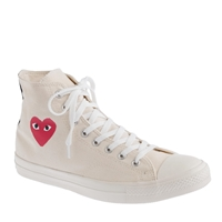 J.Crew Unisex Play Comme Des Garcons For Converse High Top Sneakers White