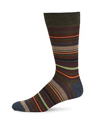 Saks Fifth Avenue Wide Striped Mid Calf Socks Brown