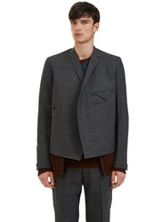 Kolor Wrap Over Knitted Layer Blazer Jacket Grey