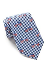 Alara Silk Freedom Flag And Checks Tie Blue