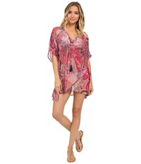 Tommy Bahama Carnival Short Caftan Cover Up Azalea Pink Women's Swimwear