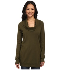 Three Dots Long Sleeve Funnel Neck Tunic Palm Breeze Women's Long Sleeve Pullover Black